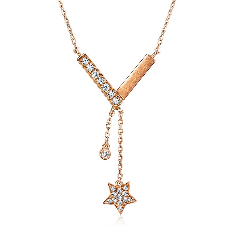 星月V型 - 18K金流苏钻石套链