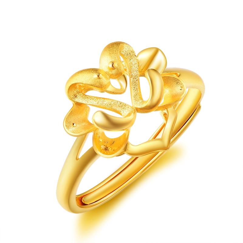 比翼双飞婚庆套装足金999黄金戒指